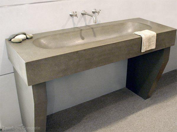 64 best concrete bathrooms images on pinterest concrete - Custom bathroom countertops with sink ...