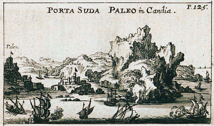 1687 Άποψη του λιμανιού της Σούδας στην Κρήτη. - SANDRART, Jacob von - ME TO BΛΕΜΜΑ ΤΩΝ ΠΕΡΙΗΓΗΤΩΝ - Τόποι - Μνημεία - Άνθρωποι - Νοτιοανατολική Ευρώπη - Ανατολική Μεσόγειος - Ελλάδα - Μικρά Ασία - Νότιος Ιταλία, 15ος - 20ός αιώνας