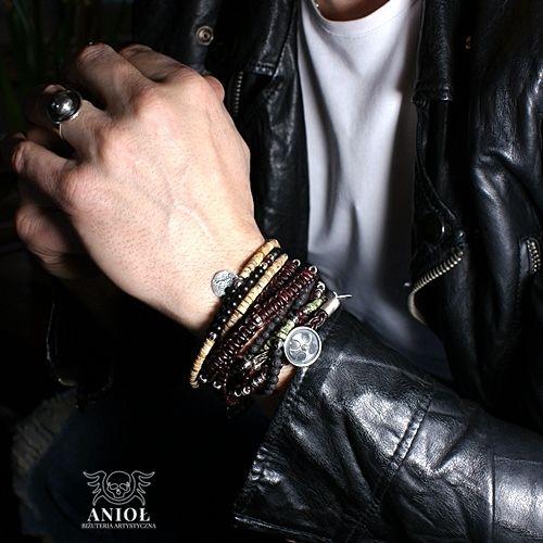 NOMADA (leather strap) -komplet bransolet / Anioł / Biżuteria / Dla mężczyzn srebro, rzemień, skóra naturalna, srebro oksydowane, jaspis, serpentynit, onyks, lawa, granat, bransoleta, rzemień, srebro, vintage, męska biżuteria, bransoleta skórzana, srebro oksydowane, koraliki