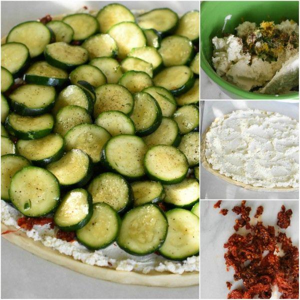laky, tender crust begins this Zucchini Sun-Dried Tomato Tart Recipe; tangy goat cheese, thyme, lemon, zucchini and sweet sun-dried tomatoes. Perfect combo | farmhousekitchensandfrenchpears.com