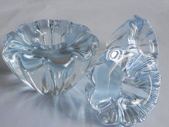 3 Orrefors crystal light blue candle holders by beautifulsweden $36.11