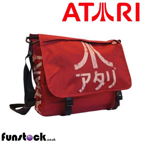 """Officially-branded Atari bag that mixes retro gaming geek culture with a cool Japanese style.  Use code """"PINFUN"""" for 5% off!  http://www.funstock.co.uk/atari-messenger-bag-japanese-logo-crimson-red  #atari #retrogaming #retrogames #retro #giftideas"""