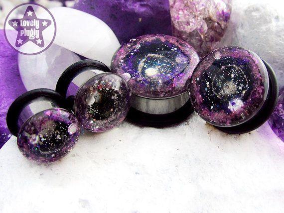 "Supernova Remnant Pink Purple ONE Plug Only Nebula / Galaxy Style 00g, 7/16"" / 10mm, 11mm on Etsy, $14.78"