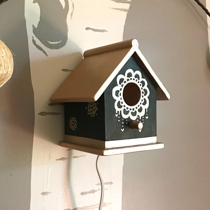 Small Birdhouse LED Night Light Little Hand-painted Black with Metallic Rose Gold Roof and Accents for Nursery or Home, Baby Shower Gift by tinydreamercreations on Etsy