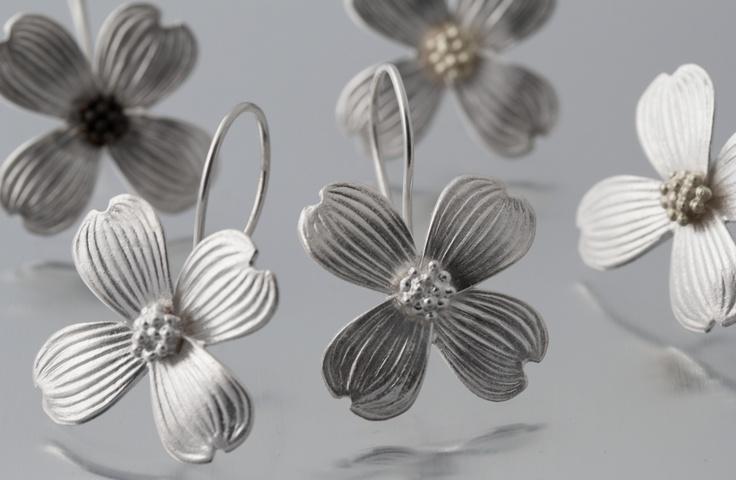Elise Moran Dogwood Flower Earring in Sterling