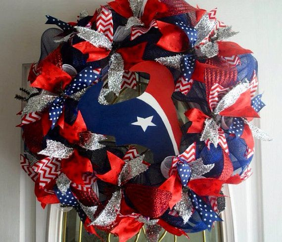 Houston Texans Football NFL Front Door Wreath  on Etsy, $75.00