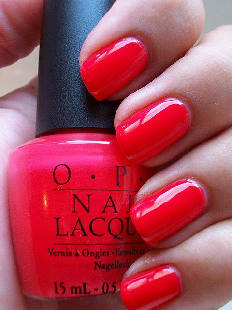 OPI Cajun Shrimp. New favorite polish!! Plus, looks really awesome with white nail designs.