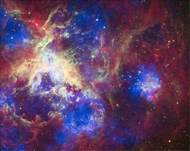 Na Grande Nuvem de Magalhães, a Nebulosa da Tarântula é uma das maiores áreas de formação de estrelas perto da Via Láctea