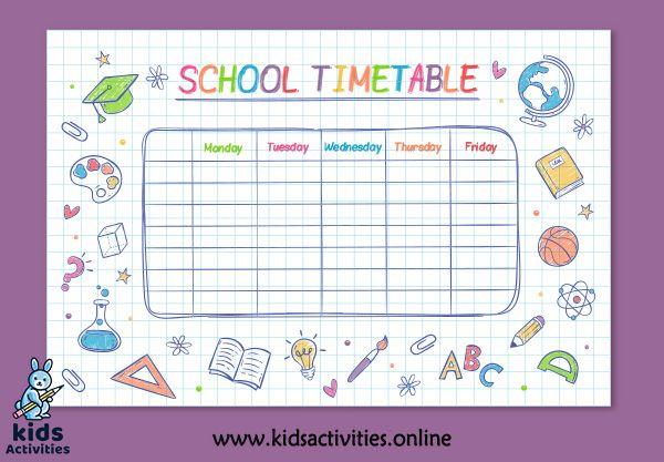 2020 School Timetable Template Free Download Kids Activities In 2020 School Timetable Timetable Template Timetable Design