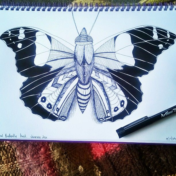 Last one  next step #turnintoafabricdesign #butterflycollection coming  #drawing #pendrawing #destinedtobefabric #sketch #butterfly #nznative #yellowadmiralbutterfly #sickday #couchcreativity #needanapnow #goawaycold #patterns #blackpen #artline200 #linedrawing