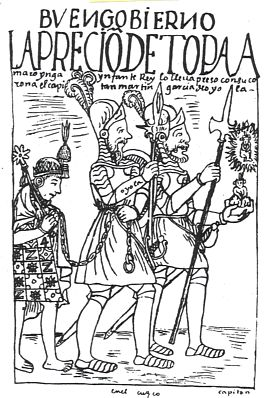 The Capture of the Sapa  Inca Túpac Amaru I  by forces under the command of Francisco de Toledo. The image is an illustration of the event made by the indigenous chronicler Huamán Poma, who was Pedro's contemporary. The woodcut dates from the early seventeenth century. (Image in the public domain).