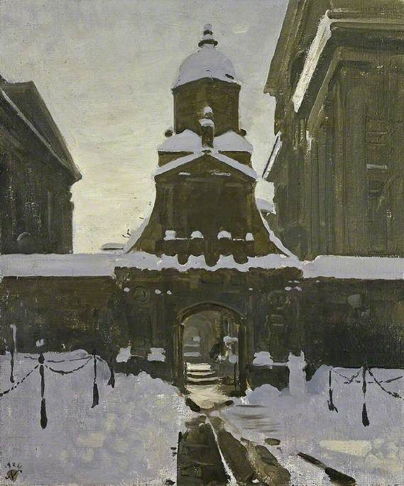 The Gate of Honour under Snow by William Nicholson, 1924