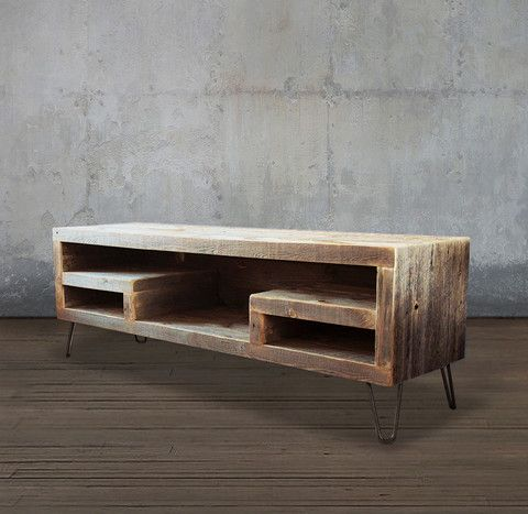 Reclaimed Wood Media Console With Shelving - Free Shipping More                                                                                                                                                                                 More