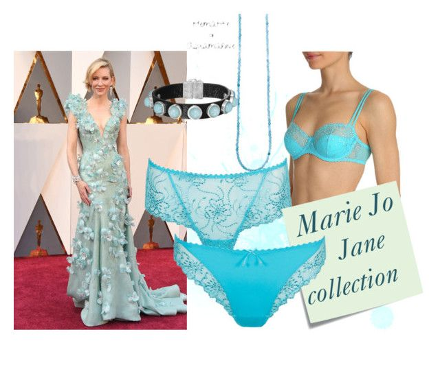 """""""Marie Jo Lingerie Jane in Capri Blue Trend Collage"""" by guiltlingerie on Polyvore featuring Post-It, aqua, lingerie and mariejolingerie"""