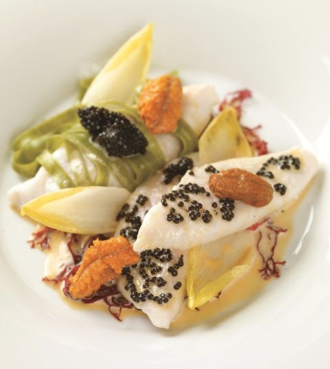 """John Dory fillets served with """"Royal Belgian"""" caviar, fresh tagliatelli, with a seaweed fragrance, champagne and sea urchin emulsion"""