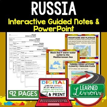 Russia Guided Notes and PowerPoints, World Geography ➤World Geography Guided Notes, Interactive Notebook, Note Taking, PowerPoints, Anticipatory Guides These interactive guided notes and PowerPoints are great for the teacher