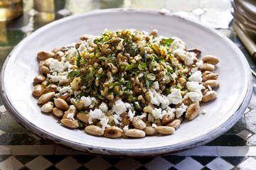 Barley, roasted cauliflower, almond and feta salad