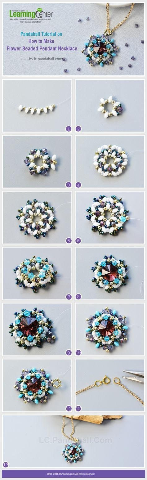 Pandahall Tutorial on How to Make Flower Beaded Pendant Necklace from LC.Pandahall.com