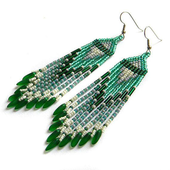 Green  seed bead earrings   beaded dangle earrings by Anabel27shop