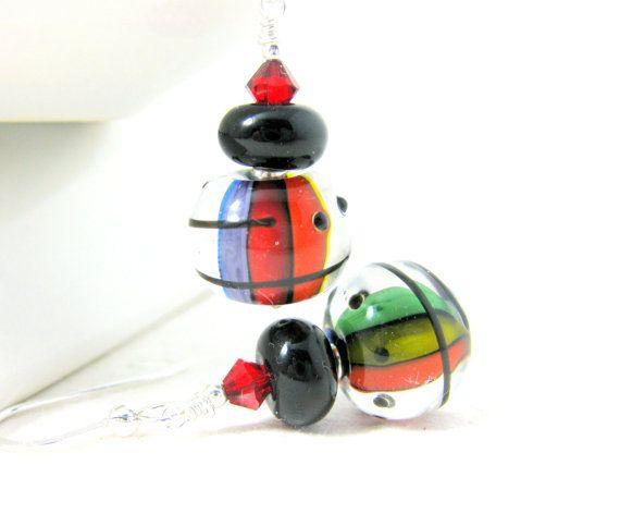 Rainbow Earrings Vertical Stripe Earrings by GlassRiverJewelry