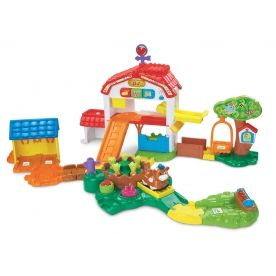 VTECH Toot Toot Animals Farm Welcome to the Toot-Toot Animals Farm! This interactive farm play set features 9 Smartpoint locations which respond to the animals with fun phrases animal and nature sound effects and melodies 3 press http://www.comparestoreprices.co.uk/educational-toys/vtech-toot-toot-animals-farm.asp