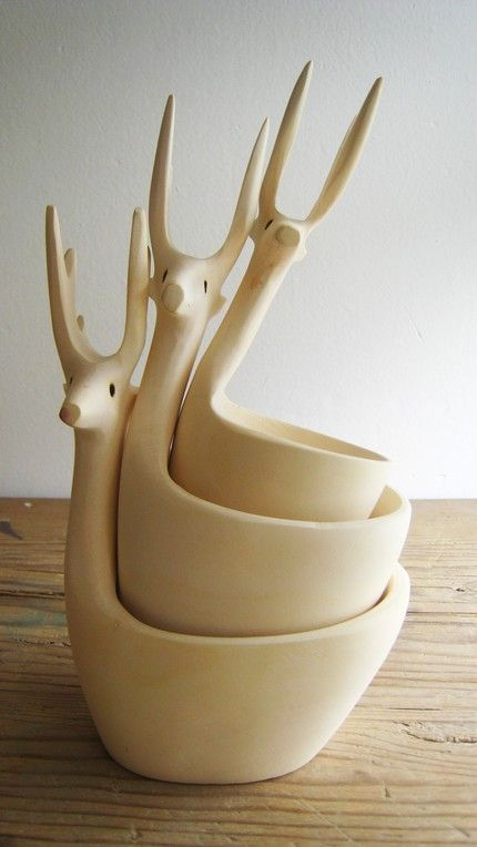 room269:baan:etsy:Exquisitely HandCarved Deer Bowls Set of 3 by mexchic on Etsy