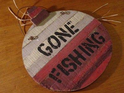 Gone Fishing Rustic Red Wood Plank Fishing Bobber Fisherman Sign Home Decor New   eBay