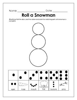 Kindergarten Common Core Math Activity - January Roll a Snowman