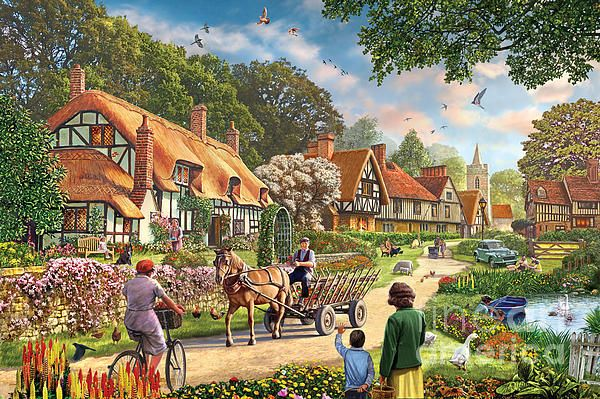 Rural Life - Steve Crisp   old village scene from 50's with an old cart, morris minor, woman on a bike etc.