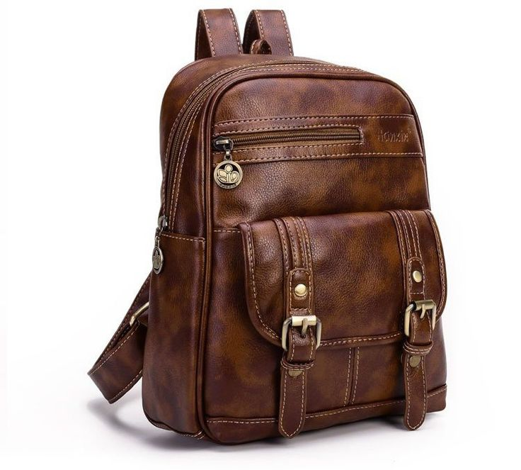 Vogue Women Vintage Brown Backpack Fashion Rucksack Teenage Girls Daily Shoulder Bag