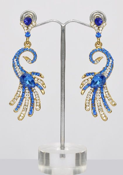 Peacock Blue & White Indian Earrings.