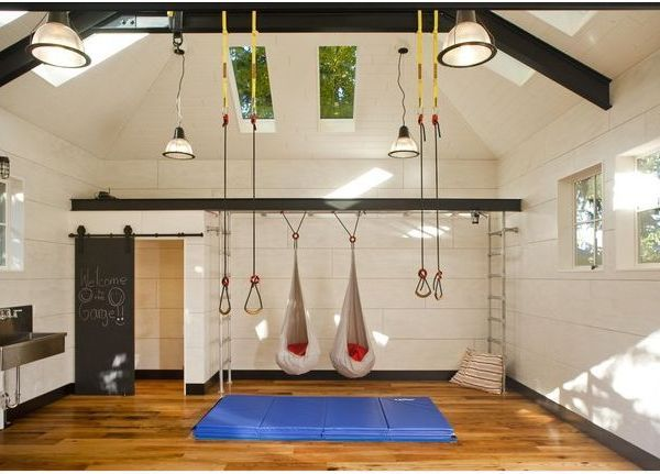 @garage conversions gym by menter architects 10 Dramatic Garage Transformations to Inspire and Amuse