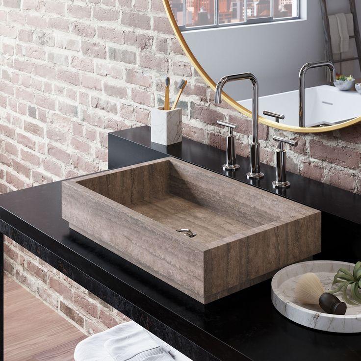 Lehi Stone Vessel Sink Wooden Gray Marble Marble Sink Bathroom