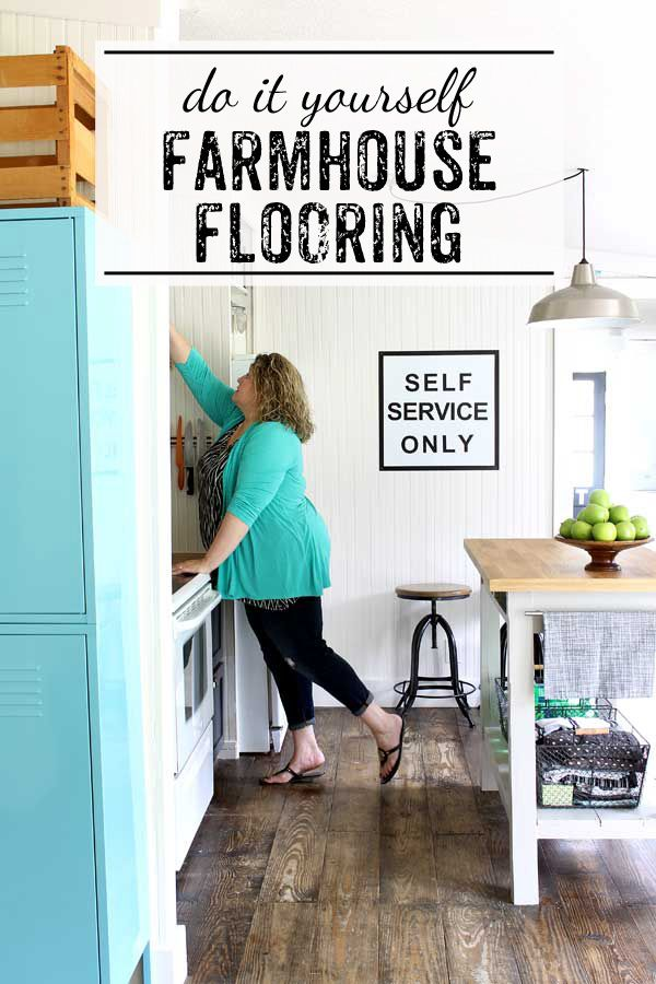 Love this idea - create your own farmhouse floors with regular pine wood. Such a budget friendly option - without all of the expense of salvaged or replica farmhouse floors.