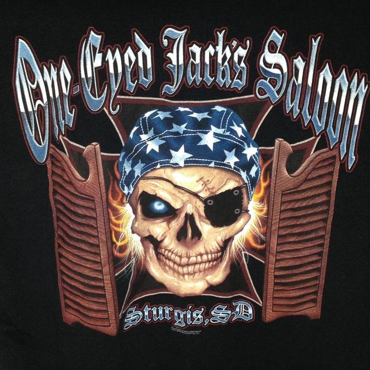 One Eyed Jacks Saloon Sturgis South Dakota T Shirt XXL 2XL Biker Skull Pocket #Gildan #GraphicTee