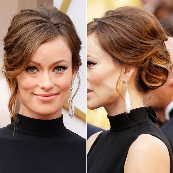 60's inspired bridal makeup with a cat-eye liner and matte nude peach lips Olivia Wilde