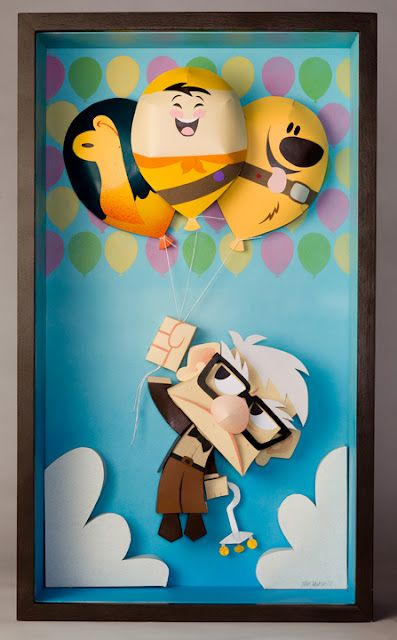 UP Paper sculpture by Matt Hawkings for the new Disney Gallery... awesome!