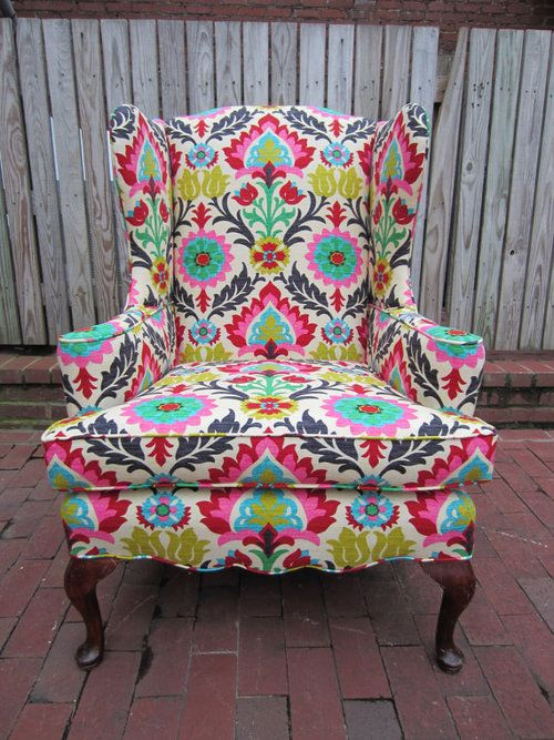LOVE LOVE LOVE for my sitting room. If i can find an old chair at a yard sale and similar fabric. I would attempt to reupholster it!