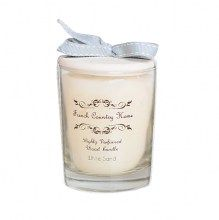 French Country Home candle in a glass with ceramic shoulder