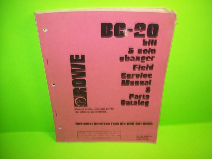 ROWE BC-20 Bill & Coin Changer Field Serive Manual & Parts Catalog 1979 ORIGINAL #Rowe