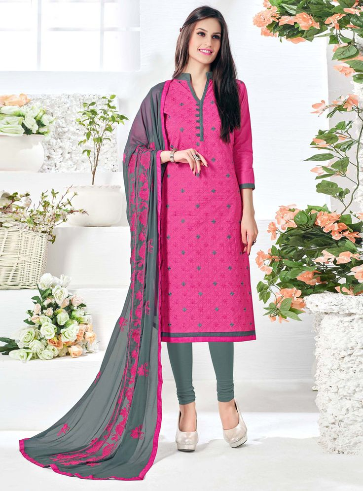 Buy Pink Cotton Kameez With Churidar 99525 online at lowest price from vast collection at m.indianclothstore.c.