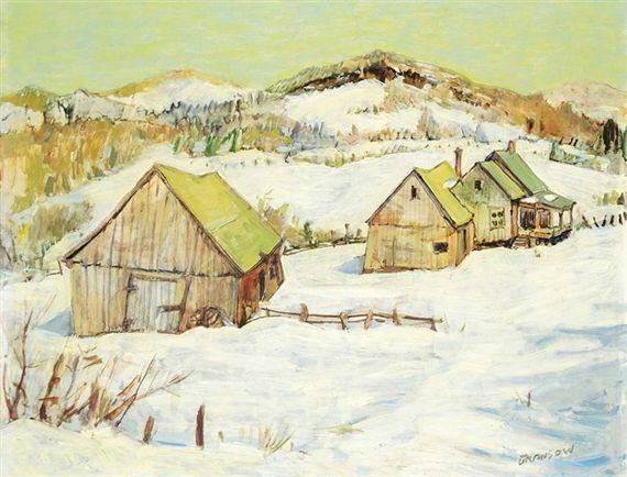 Helmut Gransow Laurentian Landscape 21.75 X 27.75 (Depth: 1) in (55.24 X 70.48 (Depth: 2.54) cm) Oil on wood board Creation Date:  1957