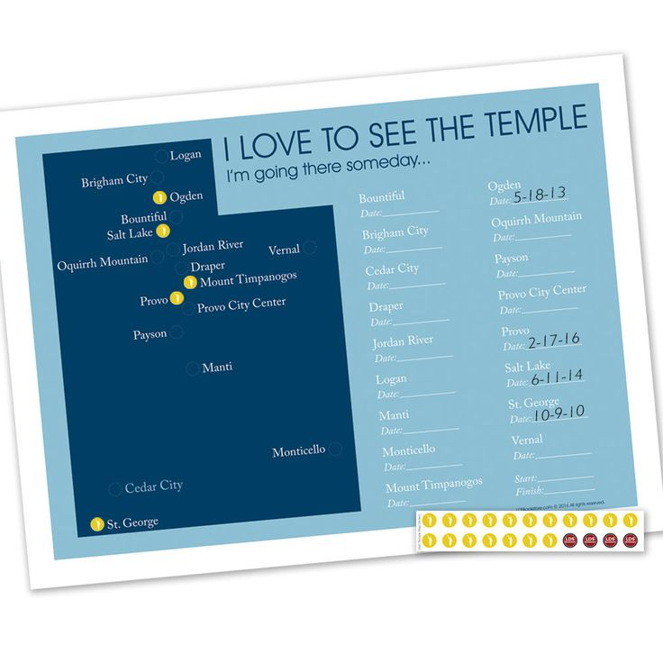 This exclusive LDSBookstore.com Utah Temple Map is a specially designed map to keep track of temple visits. Angel Moroni stickers are included to mark off each temple as visits are made. There is also a spot to write down the date of visit. This is...