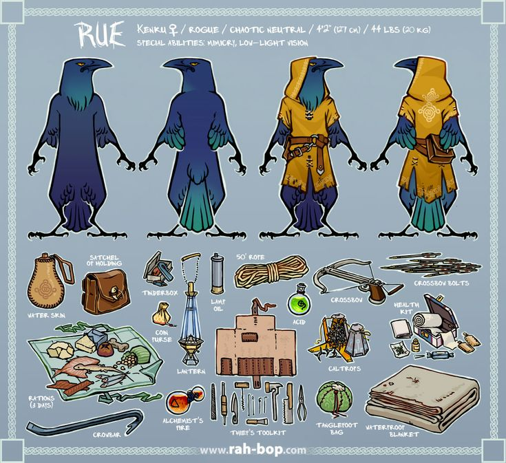 Reference sheet for my D&D character, Rue. Behind the Read More is a more thorough description of all these things! [[MORE]]Rue – Even as an adult Kenku she's only about the size of an eight-year-old human child, though her hollow bones, feathers,...
