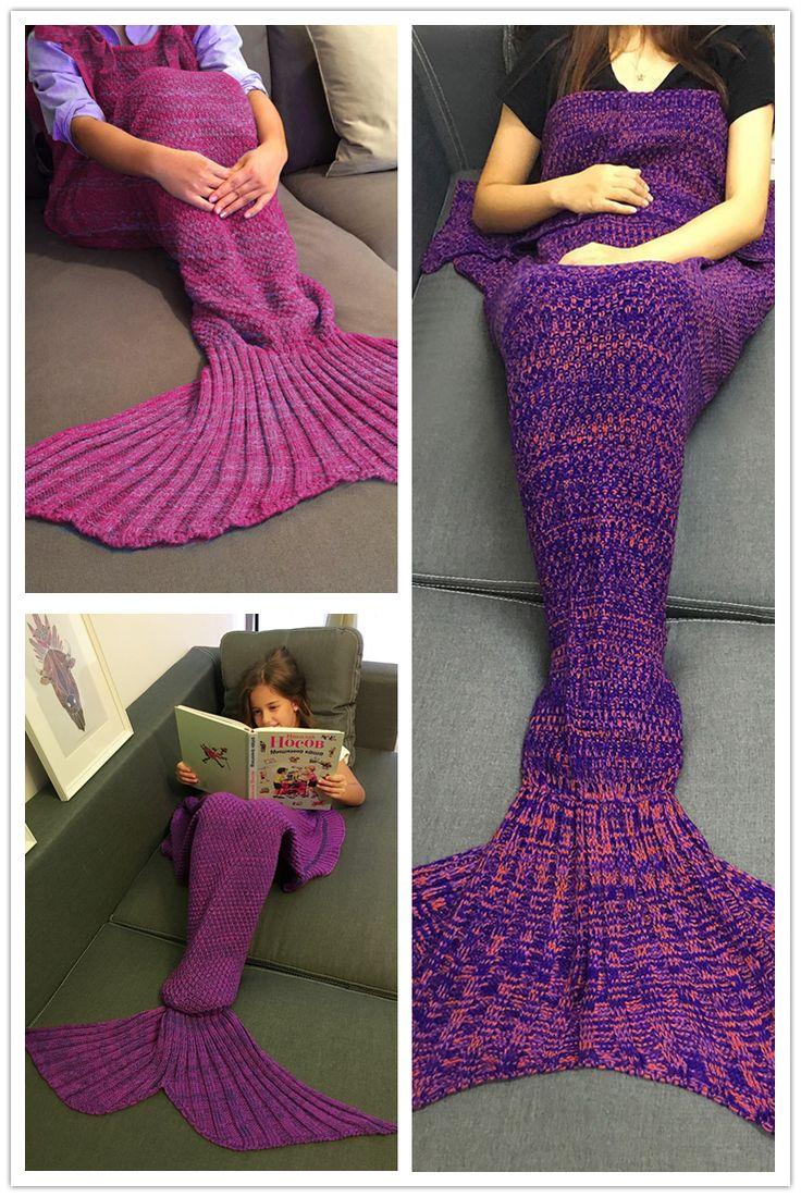 Creative Flounced Design Knitted Mermaid Tail Blanket