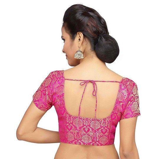 Hot Pink  Banarasi Silk /& Padded Sleeveless Blouse Ready made Saree Blouse Indian Saree Blouse Choli Sari Blouse Ready to Wear Blouse