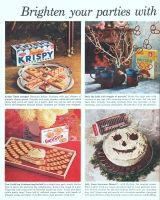 Sunshine GarliCorn Crackers 1961 Ad. A bright new party snack. You'll love their subtle garlic tang! Krispy Xmas canapes! Decorate Krispy Crackers with gay ribbons of pimento cheese spread. Deck the halls with boughs of pretzels! Jolly Xmas Snowman Dessert with Hydrox Cookies.