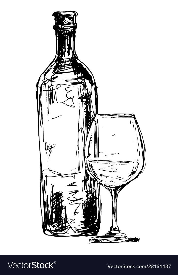 Continuous Line Drawing Bottle And Glass Of Wine Vector Illustration Download A Free Preview Or High Q Bottle Drawing Wine Bottle Drawing Wine Glass Drawing