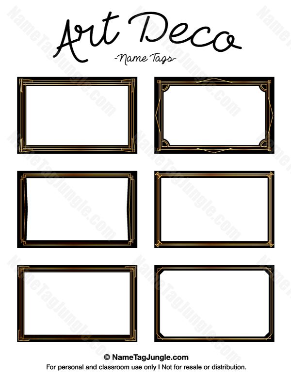 free printable art deco name tags the template can also be used for creating items like labels. Black Bedroom Furniture Sets. Home Design Ideas