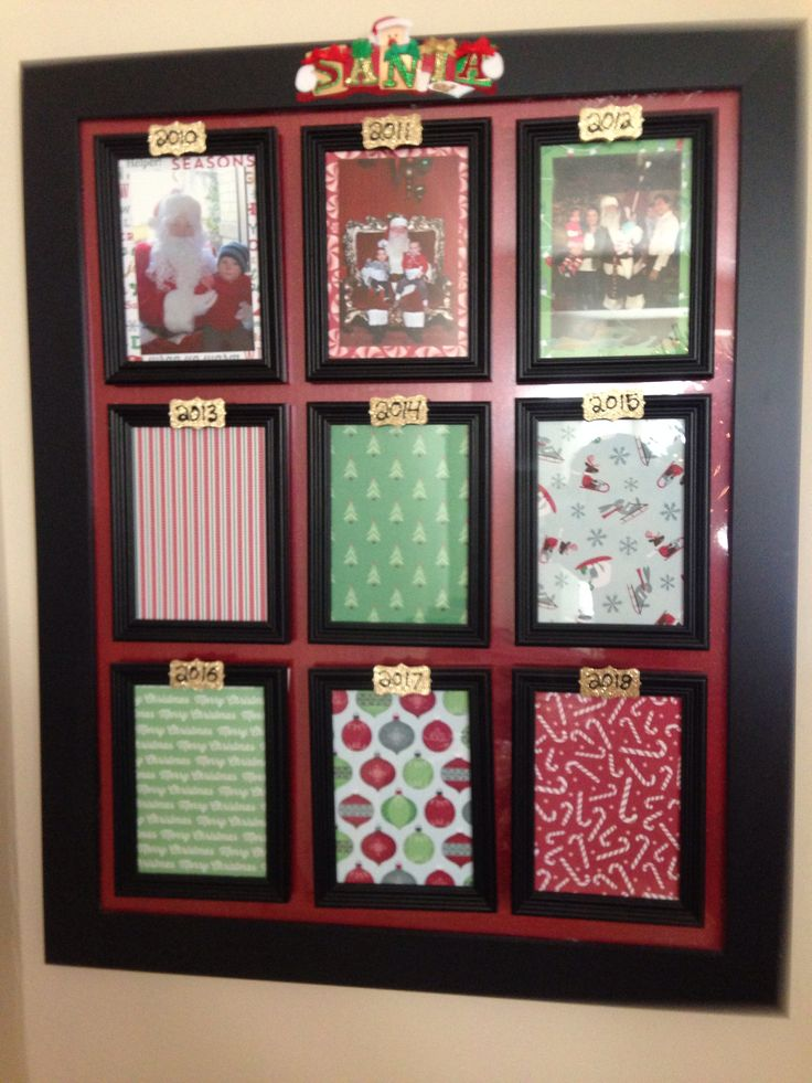 Frame with spots for yearly Santa pictures
